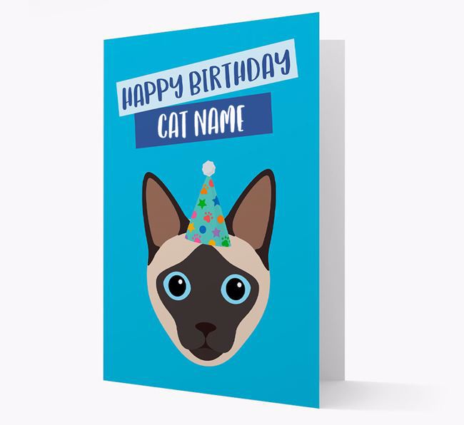 'Happy Birthday to Your Cat' - Personalised Siamese Card