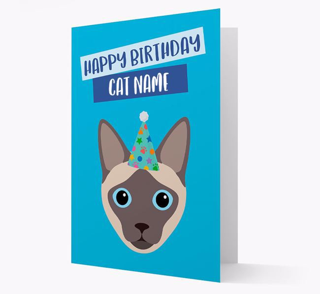 'Happy Birthday Your Cat' - Personalized Siamese Card