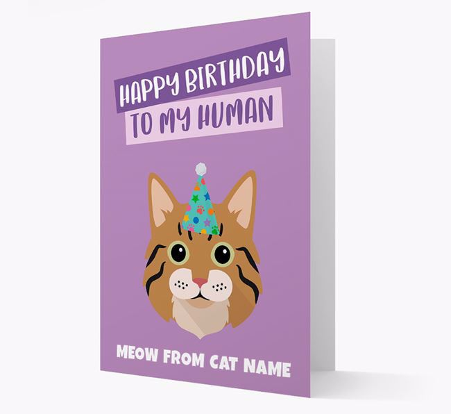 'Happy Birthday to My Human' - Personalized Cat Card