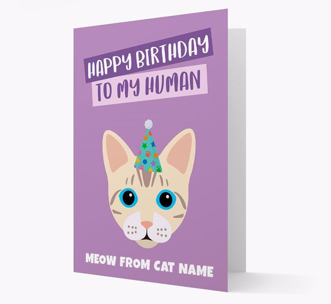 'Happy Birthday to My Human' - Personalized Bengal Card