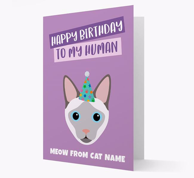 'Happy Birthday to My Human' - Personalised Siamese Card