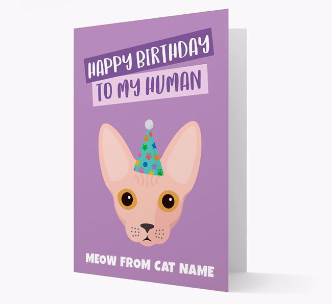 'Happy Birthday to My Human' - Personalised Cat Card