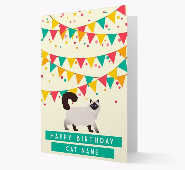 'Colorful Bunting' - Personalized Cat Birthday Card