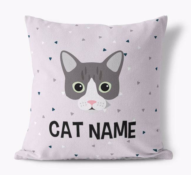 'Triangle Pattern' with Cat Icon - Personalised Canvas Cushion