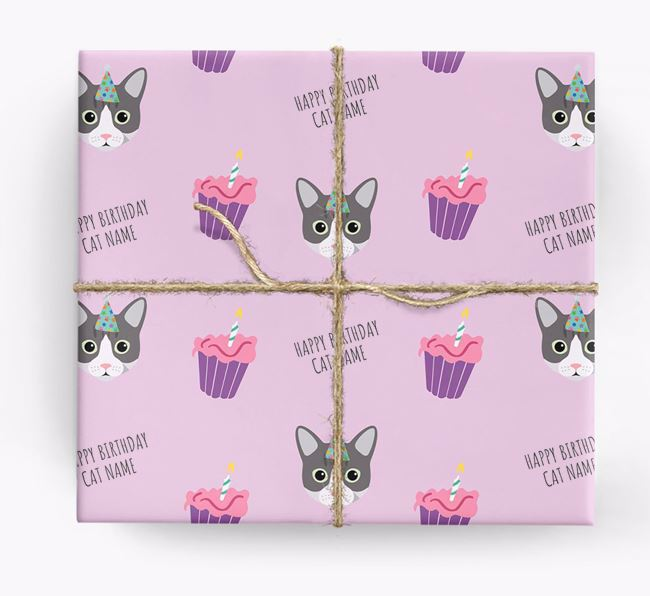 'Happy Birthday (Cupcakes)' - Personalized Cat Wrapping Paper