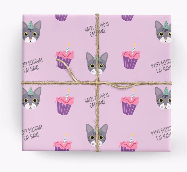 'Happy Birthday (Cupcakes)' - Personalized Bengal Wrapping Paper