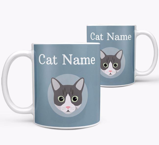 'Your Cat's Name & Cat Icon' - Personalized Mug