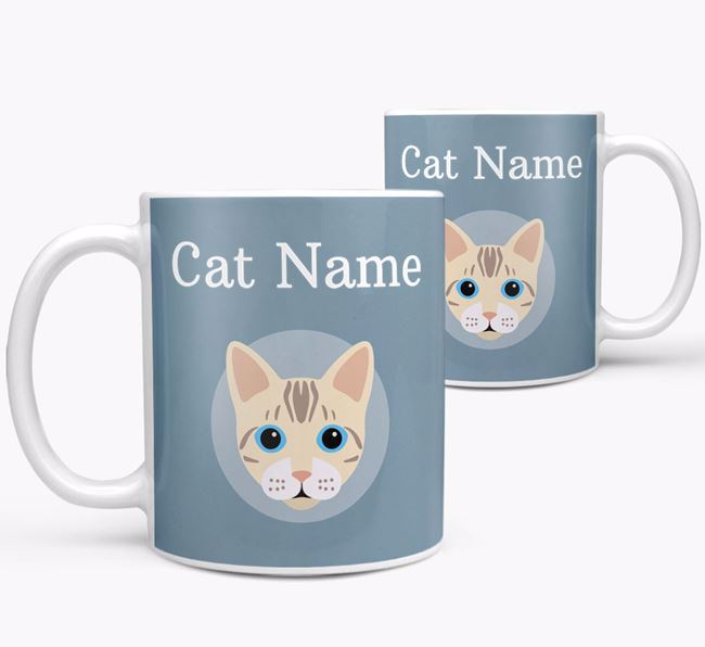 'Your Cat's Name & Bengal Icon' - Personalized Mug