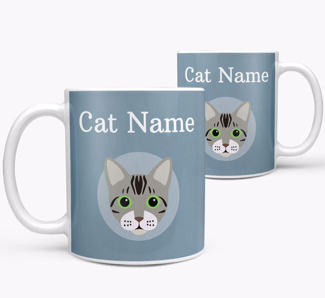 'Your Cat's Name & Bengal Icon' - Personalised Mug