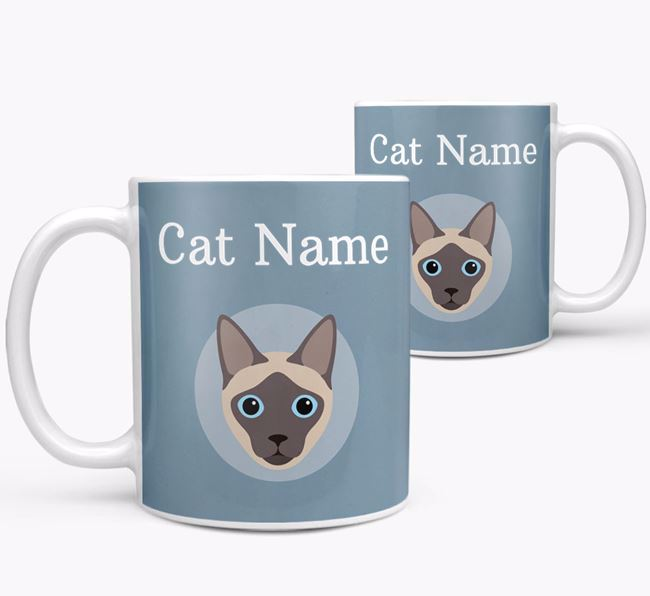 'Your Cat's Name & Siamese Icon' - Personalised Mug