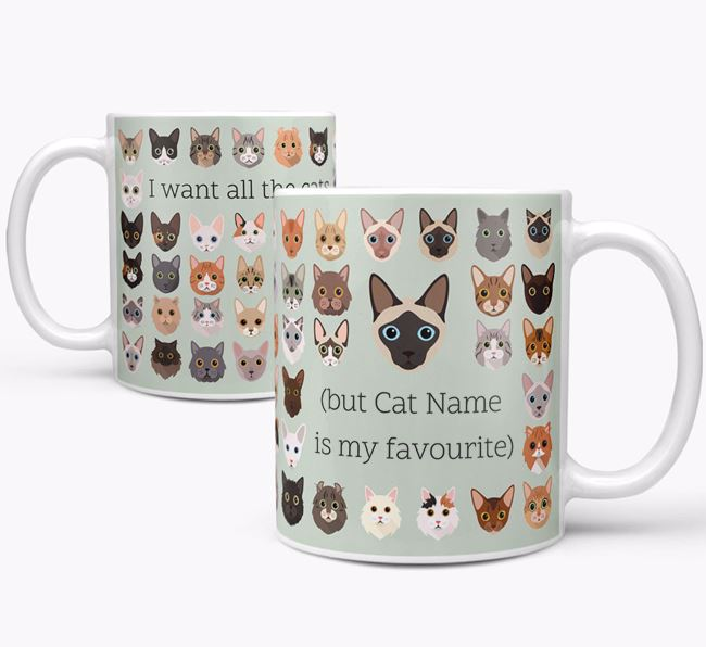 'I Want All the Cats' - Personalised Siamese Mug