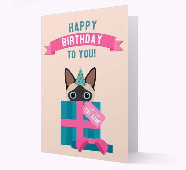 'Happy Birthday to You!' - Personalised Siamese Card