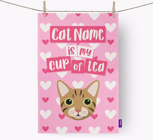 'My Cup of Tea' - Personalized Cat Dish Towel