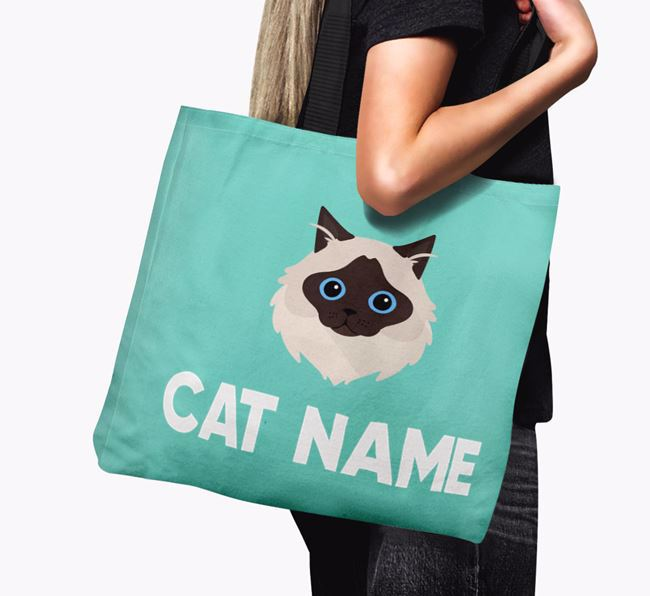 'Cat Icon & Name' - Personalized Canvas Bag
