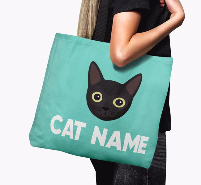 'Cat Icon & Name' - Personalised Canvas Bag