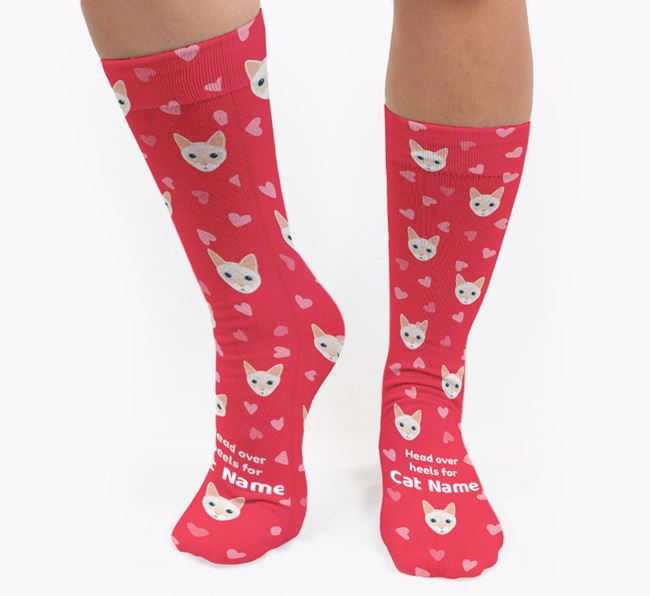 'Head Over Heels' - Personalised Socks with Siamese Icons