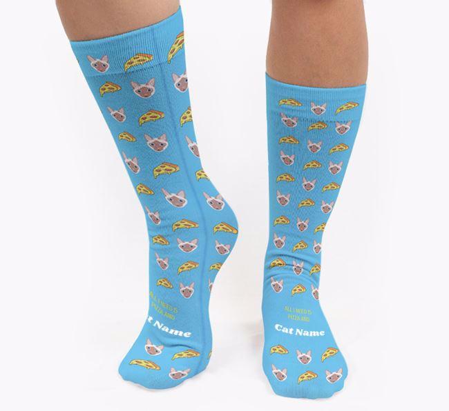 'All I Need Is Pizza and Your Cat' - Personalised Siamese Socks