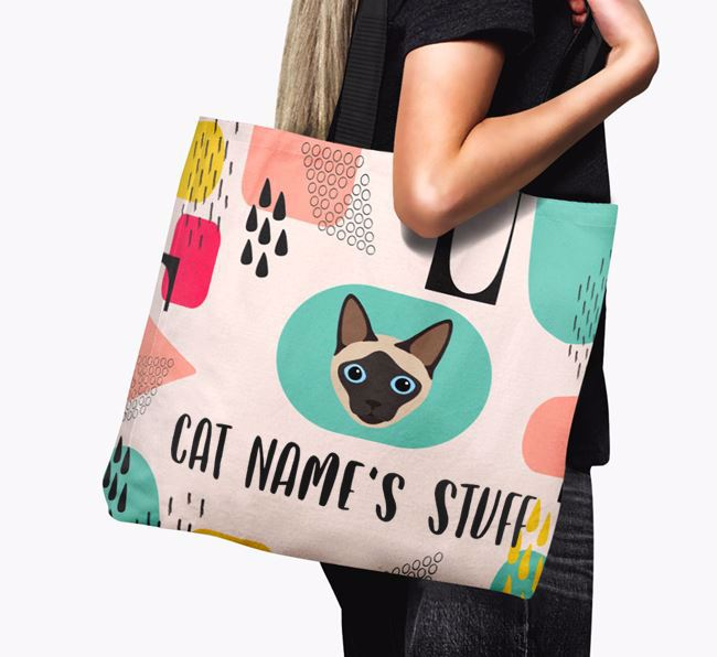 Abstract Your Cat's Stuff - Personalized Siamese Canvas Bag