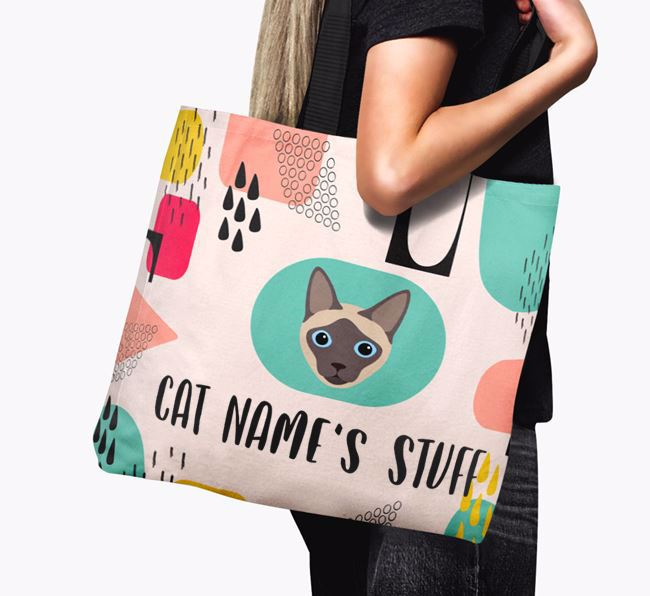 Abstract Your Cat's Stuff - Personalised Siamese Canvas Bag