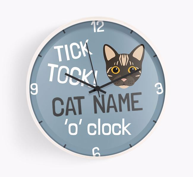 'Your Cat 'O' Clock' - Personalised Wall Clock with Bengal Icon
