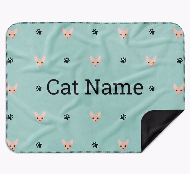 'Paw Prints and Cat Icons' - Personalised Luxury Dog Blanket