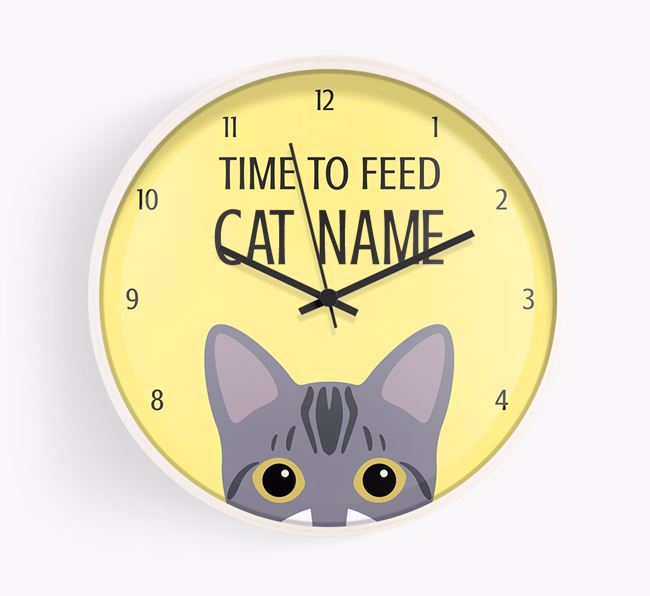'Time to Feed Your Cat' - Personalised Wall Clock with Bengal Icon (Black Text)