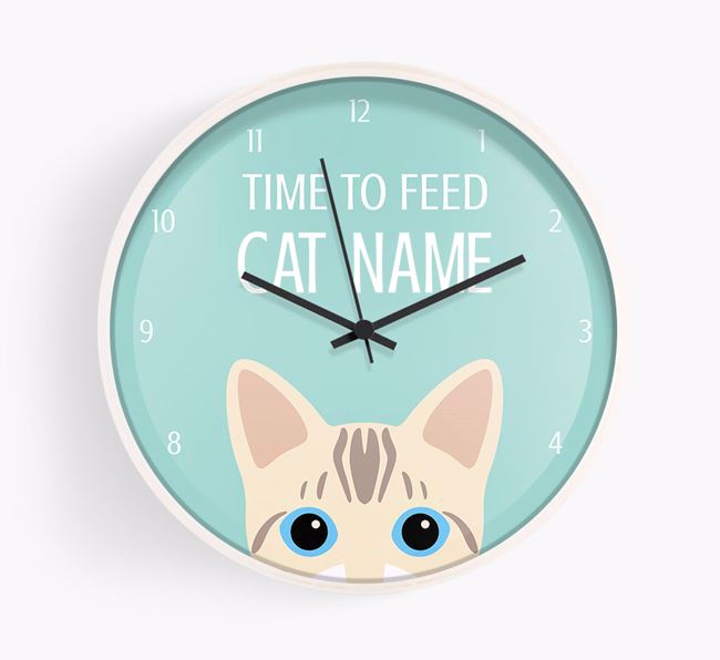 'Time To Feed Your Cat' - Personalised Wall Clock with Bengal Icon (White Text)
