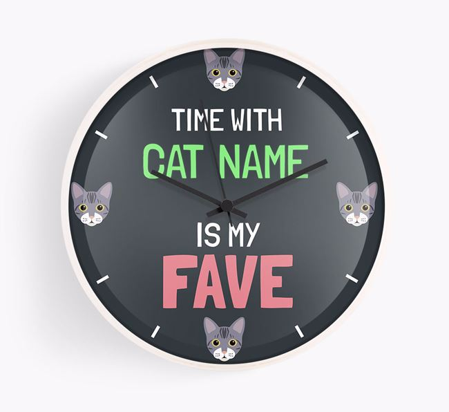 'Time with Your Cat Is My Fave' - Personalised Wall Clock with Bengal Icons