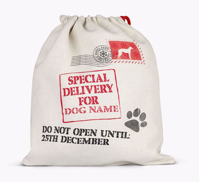 Personalised 'Special Delivery for Your Dog' Santa Sack Full
