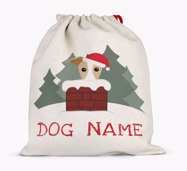 Personalised 'Peeking Icon with Hat' Santa Sack Full