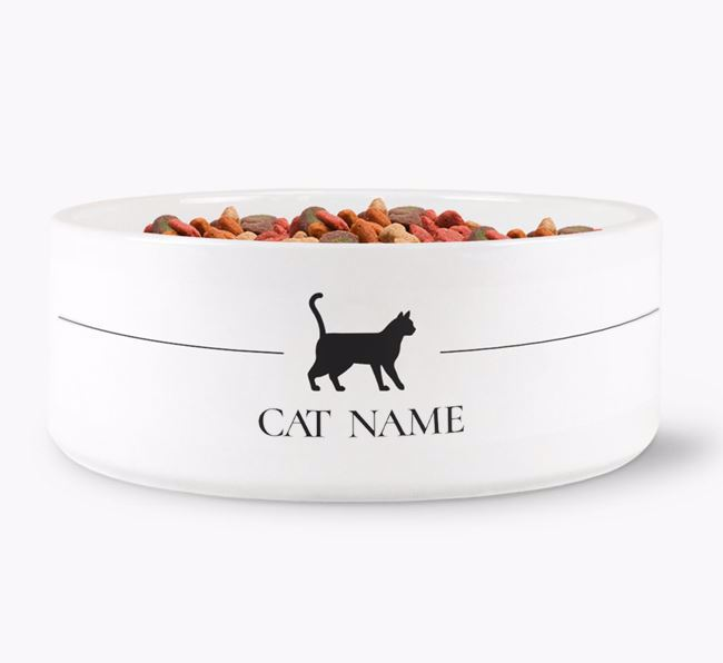 'Bengal Silhouette' - Personalised Dog Bowl
