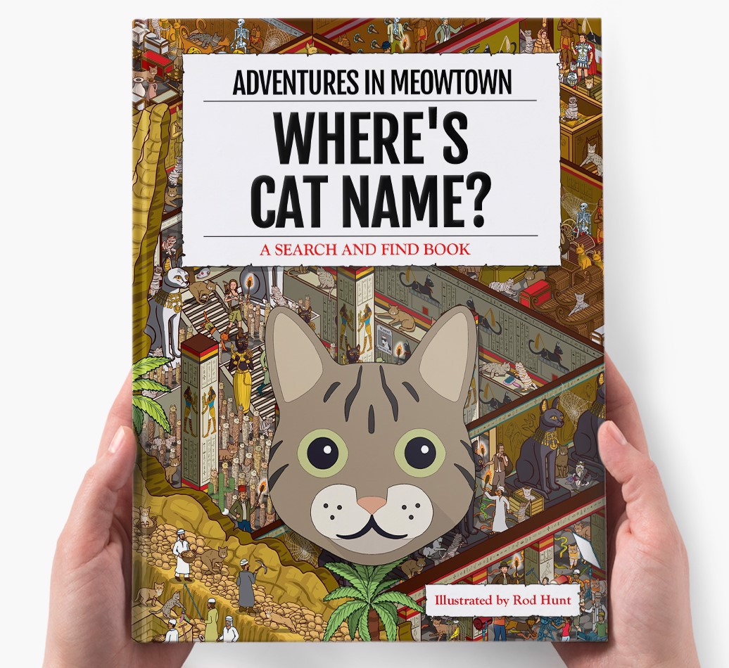 Personalised Where's Cat Name In Meowtown Book - holding in hands