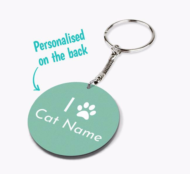 'I Paw Your Cat' -Personalised Double-sided Keyring