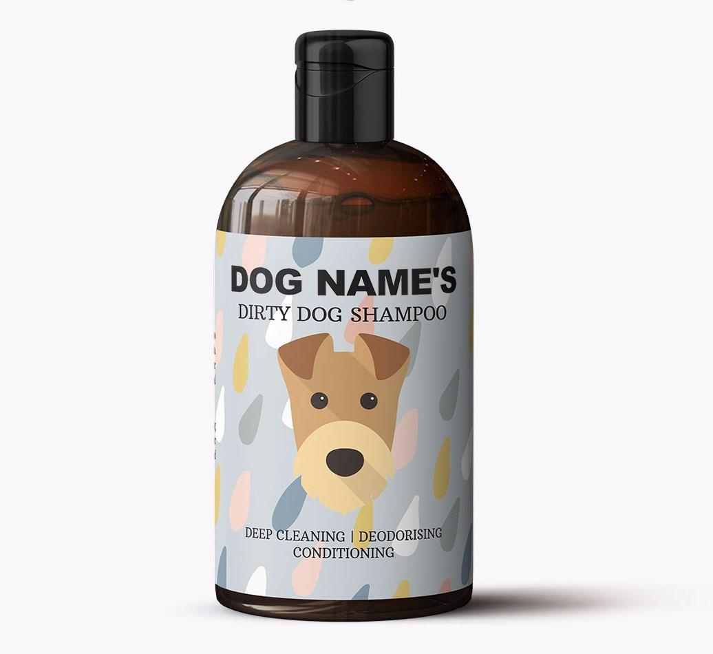 Personalised Airedale Terrier 'Dirty Dog' Shampoo Shampoo Bottle