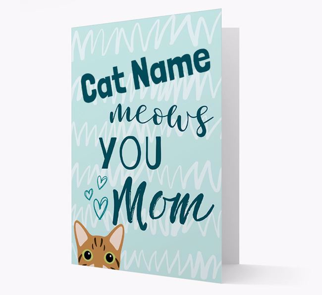 'Your Cat meows you, Mum' - Personalized Cat Card