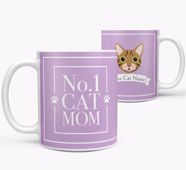 'No.1 Mom' - Personalized Cat Mug