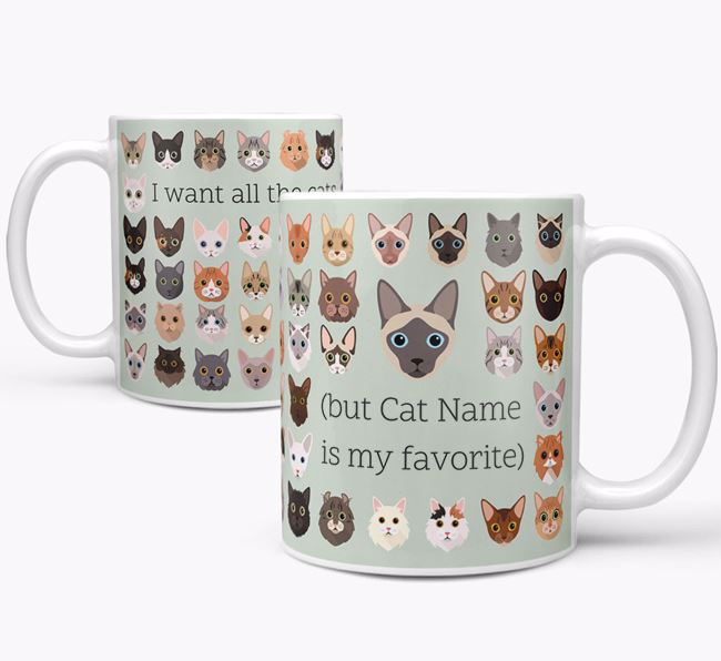 'I Want All the Cats' - Personalized Siamese Mug
