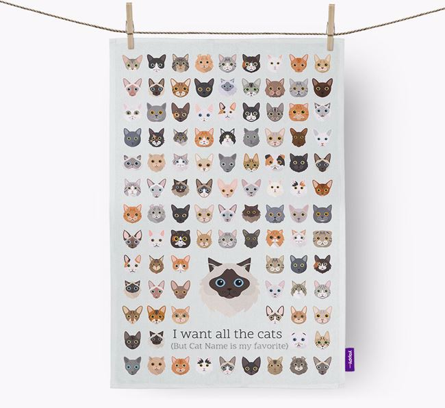 'I Want All the Dogs' - Personalized Cat Dish Towel