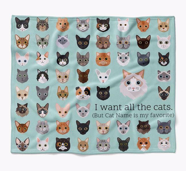 'I Want All the Dogs' - Personalised Luxury Cat Blanket