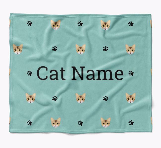 'Paw Prints and Bengal Icons' - Personalised Luxury Dog Blanket