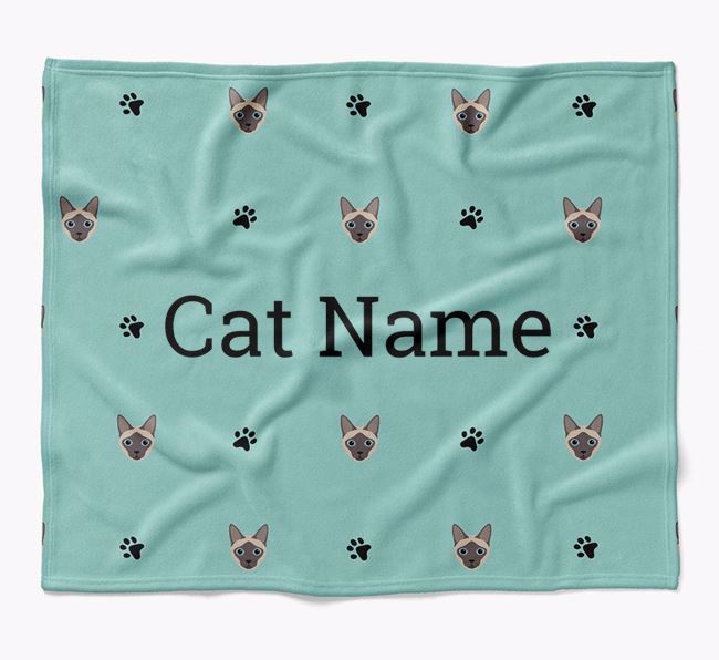 'Paw Prints and Siamese Icons' - Personalised Luxury Dog Blanket