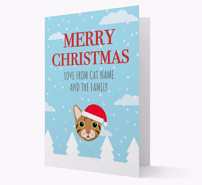'Merry Christmas' - Personalized Cat Card