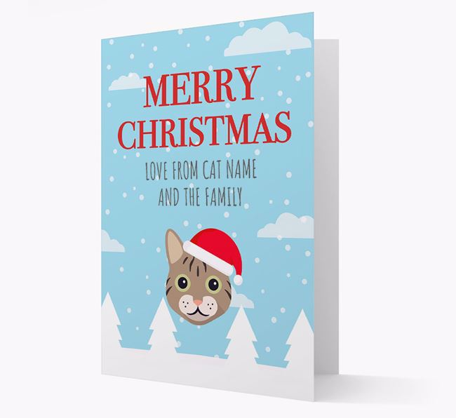 'Merry Christmas' - Personalised Cat Card