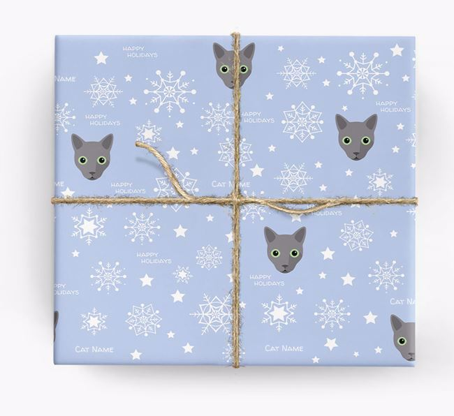 'Happy Holidays' - Personalized Cat Wrapping Paper