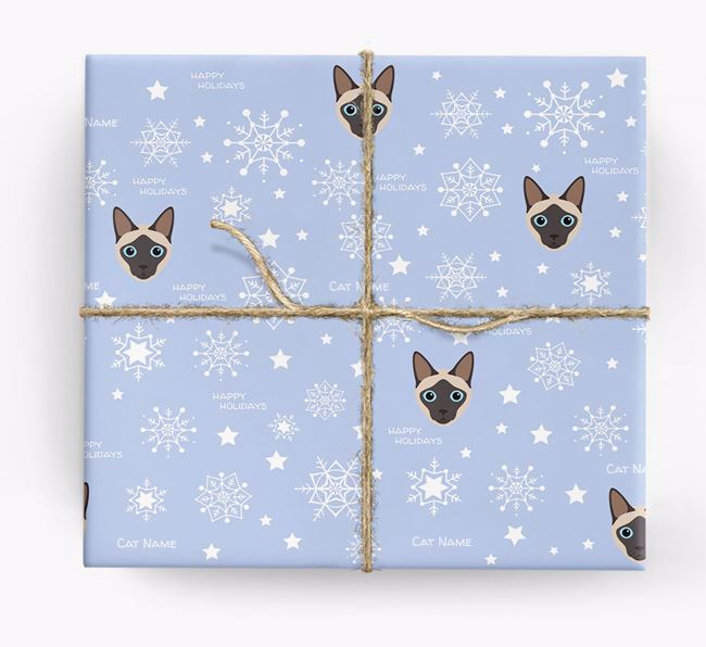 'Happy Holidays' - Personalised Siamese Wrapping Paper