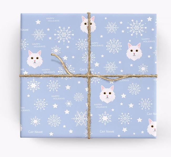 'Happy Holidays' - Personalised Cat Wrapping Paper