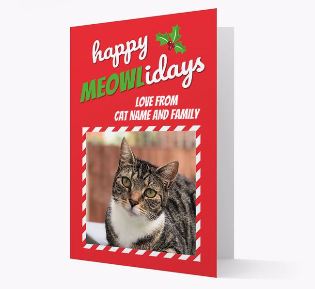 'Happy Meowlidays' - Personalised Card with photo of your Cat