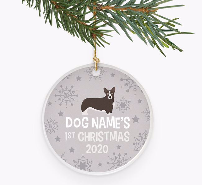 'Your Dog's First Christmas 2020' Ceramic Decoration with Corgi Icon