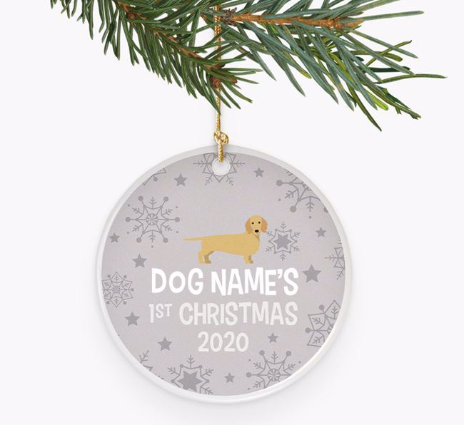 'Your Dog's First Christmas 2020' Ceramic Decoration with Dachshund Icon