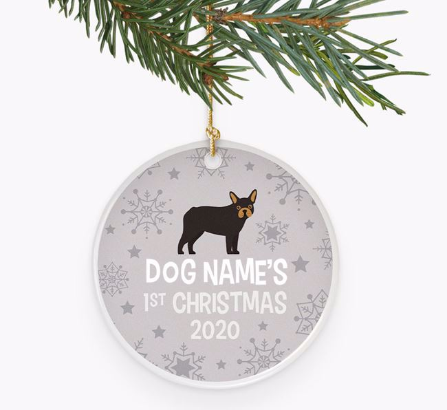 'Your Dog's First Christmas 2020' Ceramic Decoration with French Bulldog Icon